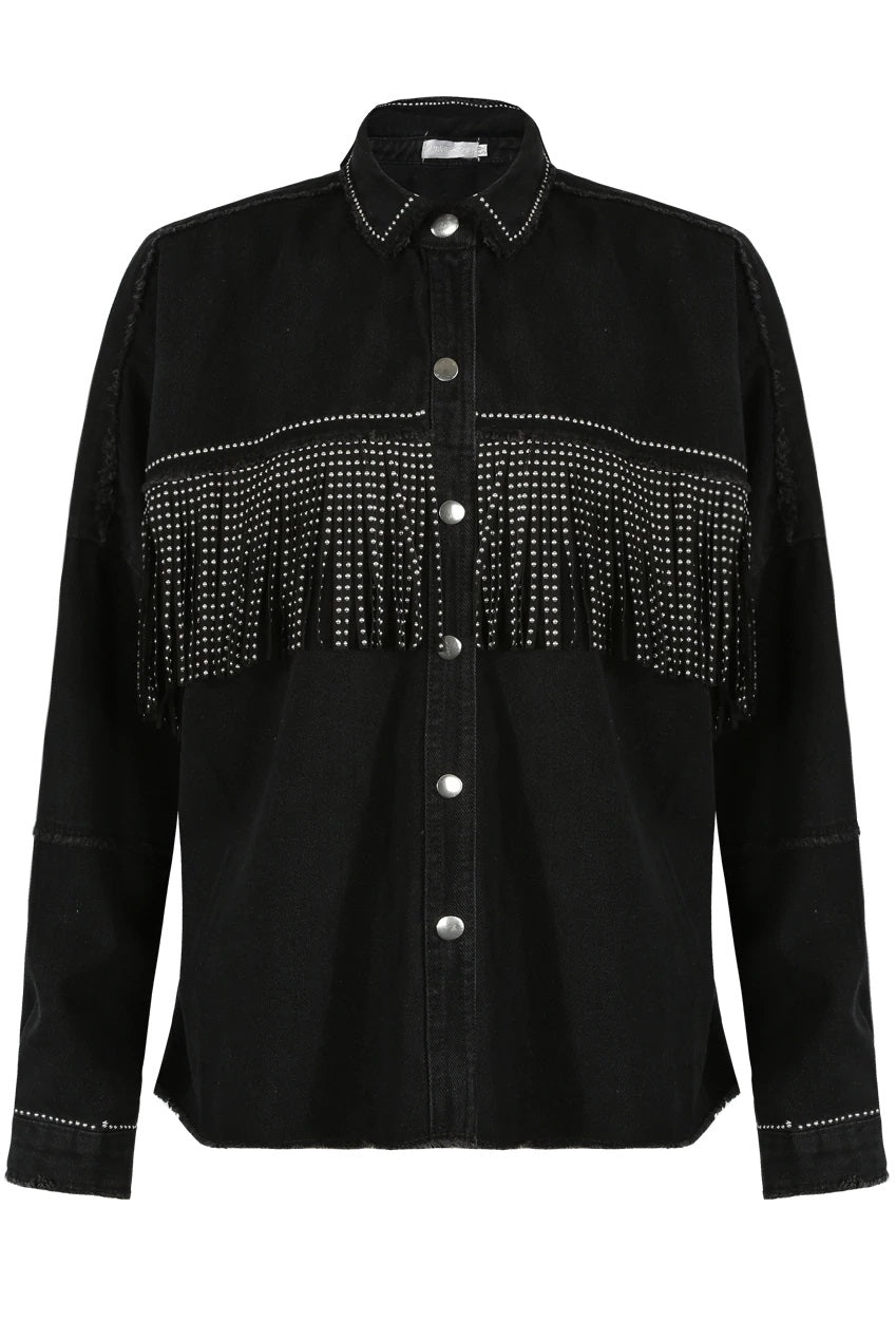 Black Denim Jacket With Diamante Fringe - Brielle - storm desire