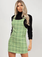 Checkered Print Tiered Button Front Pinafore Dress With a Bow(s) and Ruffles