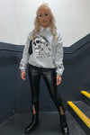 Grey Floral Skull Graphic Sweatshirt Jumper - Lexi