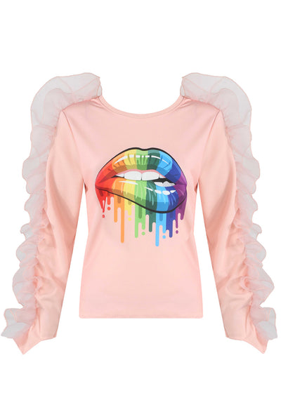 Pink Frill Trim Rainbow Lips Top - Hareem
