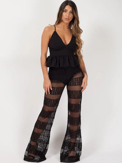 Black Crochet Knicker Flared Trouser - @_bryonny - storm desire