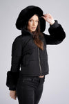 Black Soft Faux Fur Hood Puffer Coat - Pamela