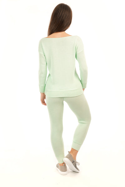 Mint Green Knitted Lounge wear Set - Olive