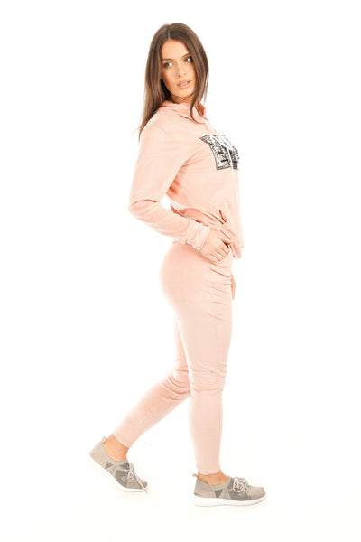 Baby Pink Sequin J'Adore Velour Loungewear Suit - Liberty