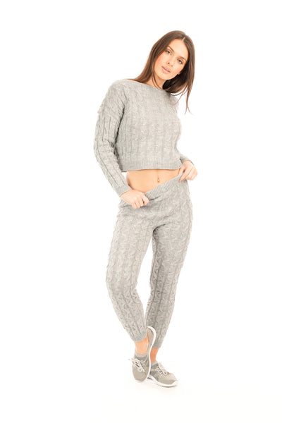 Grey Cable Knit Loungewear co-ord Set - Francesca