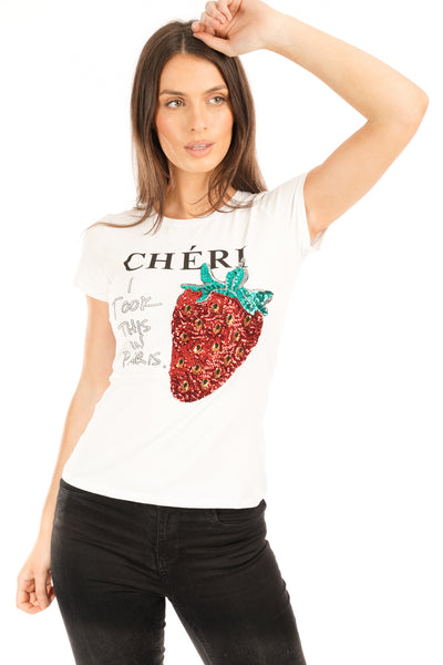 White Sequin Cherry Printed Top - Emmie