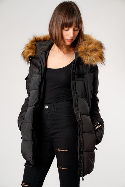 Black Belted Faux Fur Hood Quilted Puffer Jacket - Gracie - storm desire