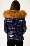 Navy Blue Shiny Wetlook Chunky Faux Fur Hood Puffer Jacket - Zara