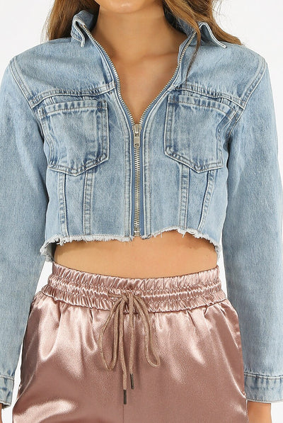 Denim Blue Zip Up Crop Summer Jacket - Lisa - storm desire