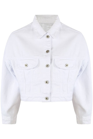 White Crop Denim Summer Jacket - Trinity