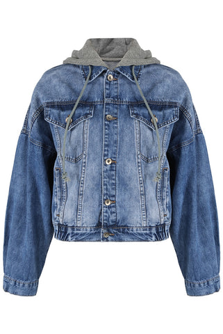Denim Blue Hooded Button Up Jacket - Maria - Storm Desire