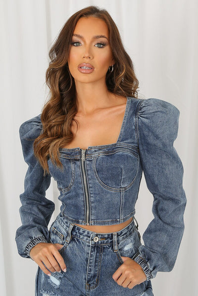 Blue Zip Up Puff Sleeve Denim Jacket - Amelia