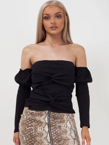 Black Off The Shoulder Bandeau Top - Lauren - Storm Desire