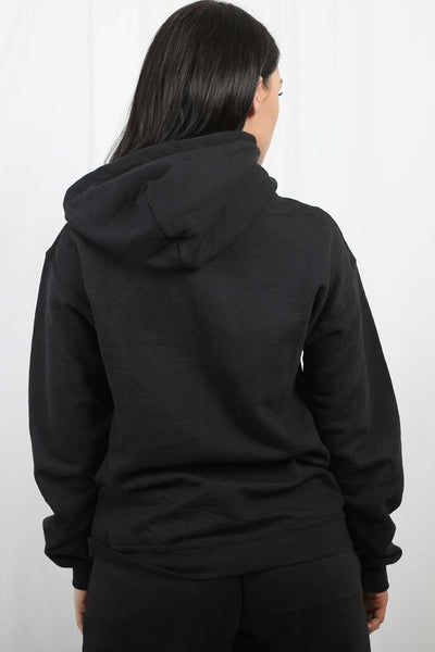 Back In Stock Black Bisous Print Fleece Hoodie - Aleah