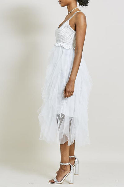 Off White Tiered Rara Mesh Crochet Dress - Malia