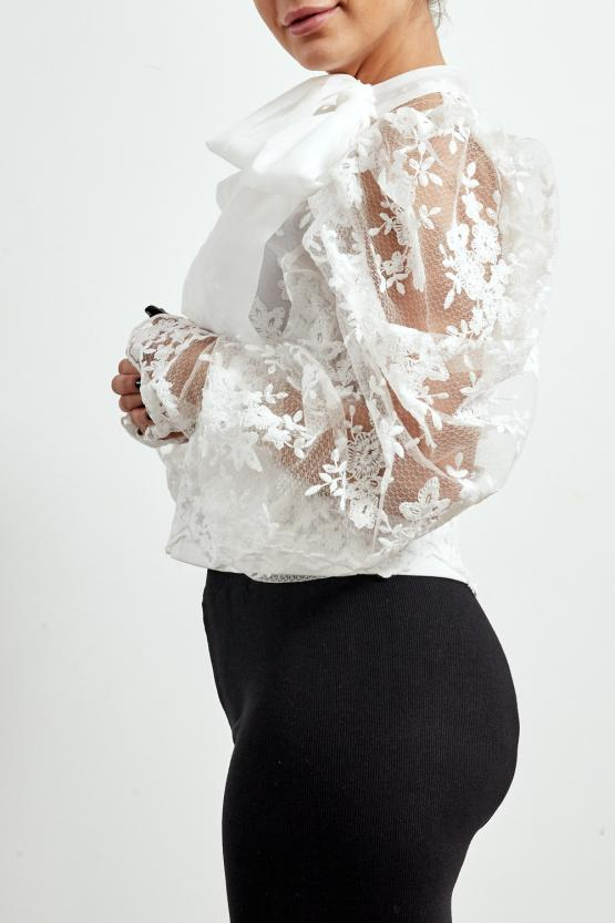 Off White Lace Mesh Bow Embroidery Blouse - Alicia