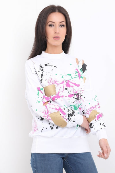 Gemma Paint Splash White Jumper - storm desire
