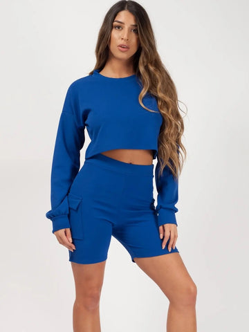 Royal Blue Crop Top & Pocket Shorts Co-ord - Leah - Storm Desire