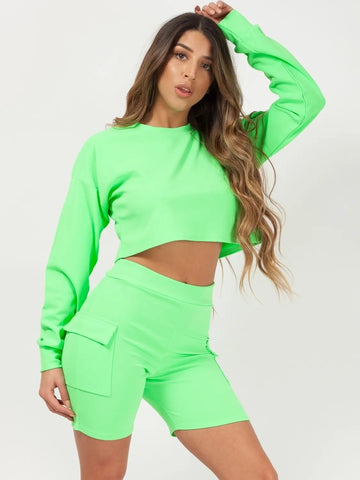 Neon Green Crop Top & Pocket Shorts Co-ord - Leah - Storm Desire