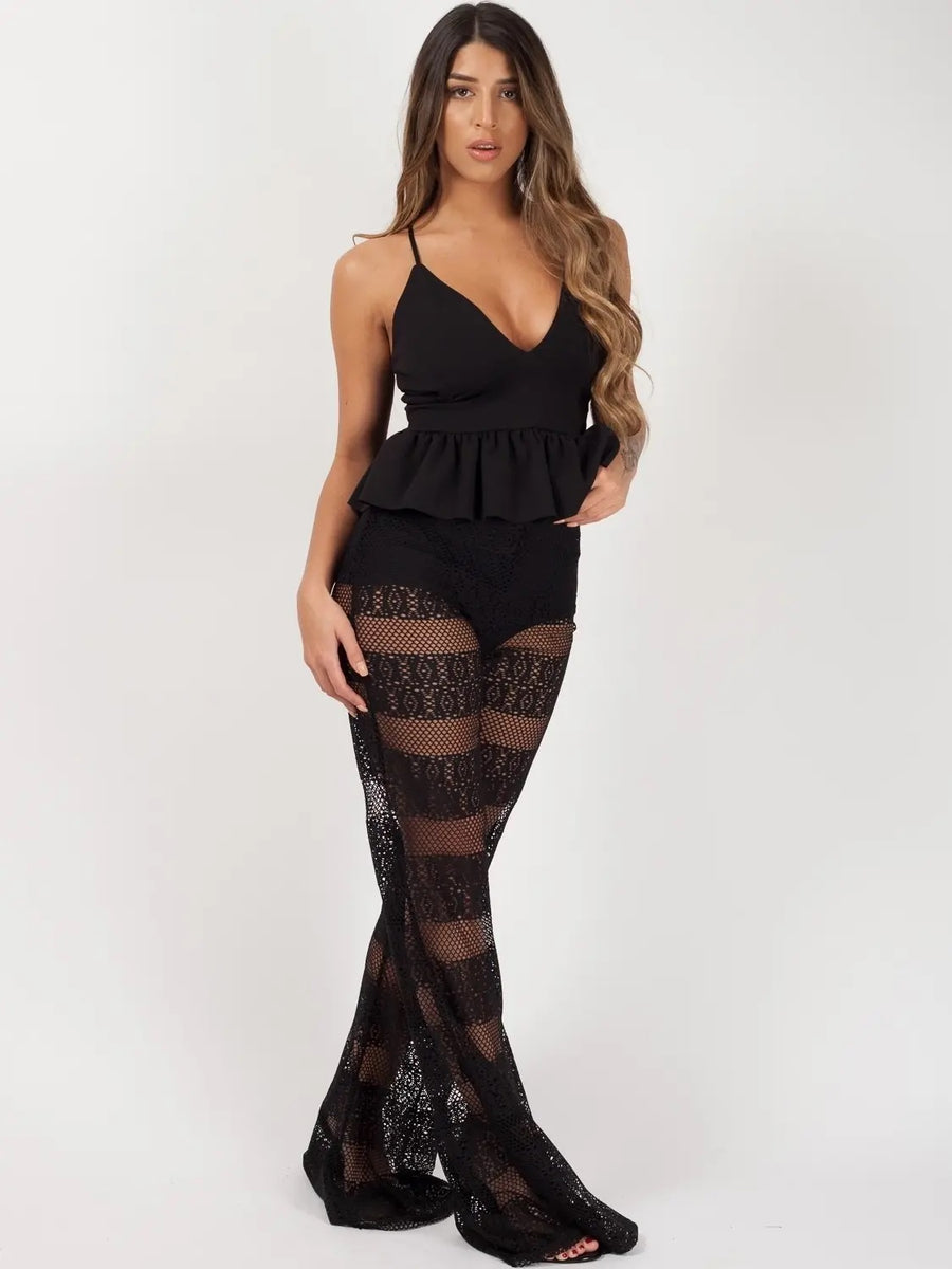 Black Crochet Knicker Flared Trouser - Abigail - storm desire