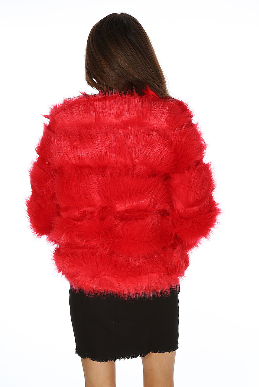 Hot Red Super Soft Faux Fur Jacket - Ayana