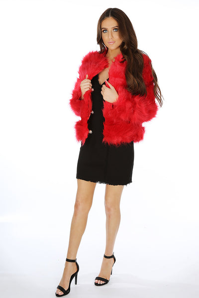 Red Super Soft Faux Fur Jacket - Ayana