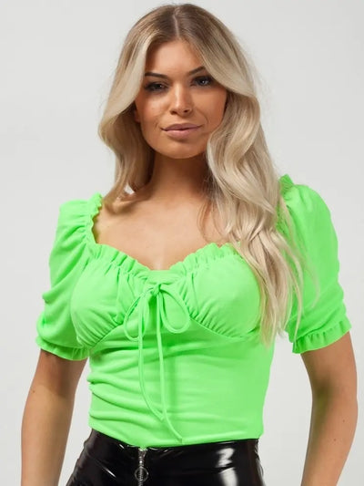 Neon Green Ruched Frill Gypsy Top - Faith - Storm Desire