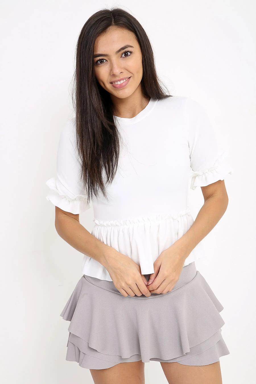 White Ruched Frill Hem And Sleeves Top - Valentina