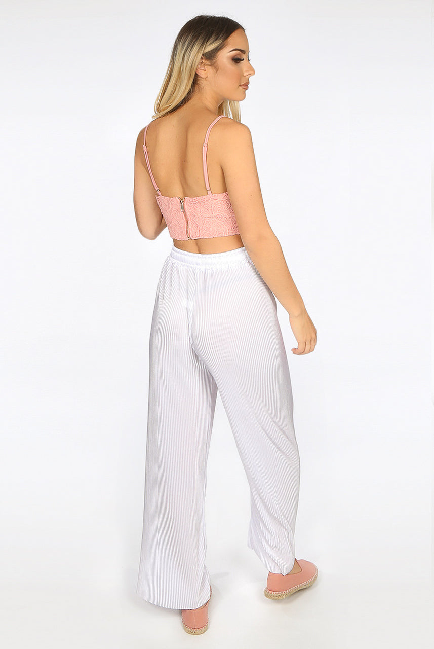 White Pleated Wide Leg Trousers - Jane