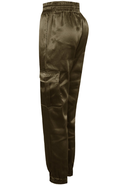 Green Satin Lux Jogger Pants - Sylvie