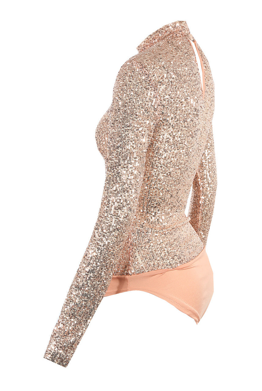 Rose Lux Sequin Embellished Bodysuit - Claire
