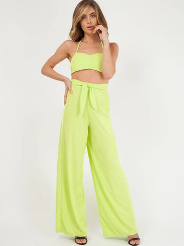 Neon Green Ribbed Tie-up Bralet & Trouser Co-ord Set - Genesis - Storm Desire