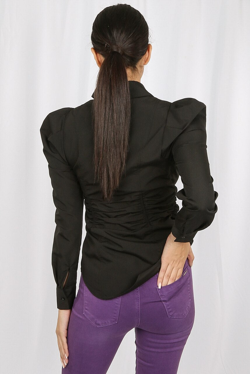 Black Waist Ruched Fitted Shirt - Stephanie