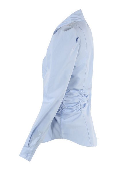 Blue Waist Ruched Fitted Shirt - Stephanie