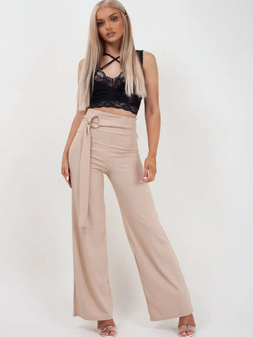 Beige Double Ring Belt Ribbed Trousers - Emerson - Storm Desire