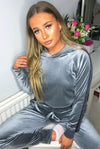 Back In Stock Grey Striped Velour Cropped Tracksuit - Aviana