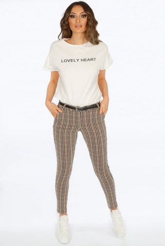 Beige Belted Check Trouser Pants - Teagan - Storm Desire