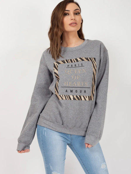Grey Queen Of Hearts Printed Sweatshirt Jumper - Adalyn