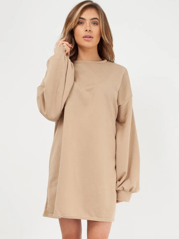 Stone Plain Oversized Basic Sweater Dress - Harmony