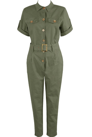 Khaki Green Safari Belted All In One Boiler Jumpsuit - Bella - Storm Desire