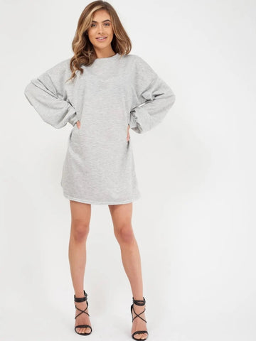 Grey Plain Oversized Basic Sweater Dress - Harmony - storm desire