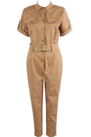 Camel Safari Belted All In One Boiler Jumpsuit - Bella - Storm Desire