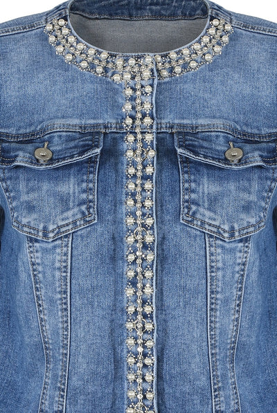 Denim Blue Pearl Embellished Jacket - Ximena - storm desire