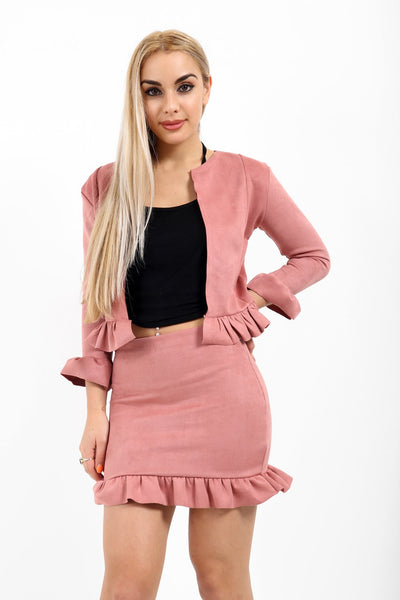 Frill Suede Fabric Co-ord Suit skirt jacket  - Pink - storm desire