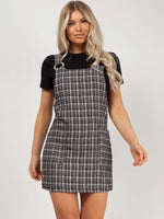 Checkered Print Pinafore Button Front Tiered Dress With a Bow(s) and Ruffles