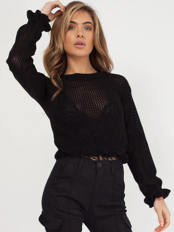 Black Knitted Crochet Frill Crop Top - Lauren - storm desire