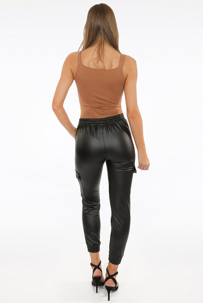 Back In Stock Black Leather Look Pu Cargo Pants - Gia