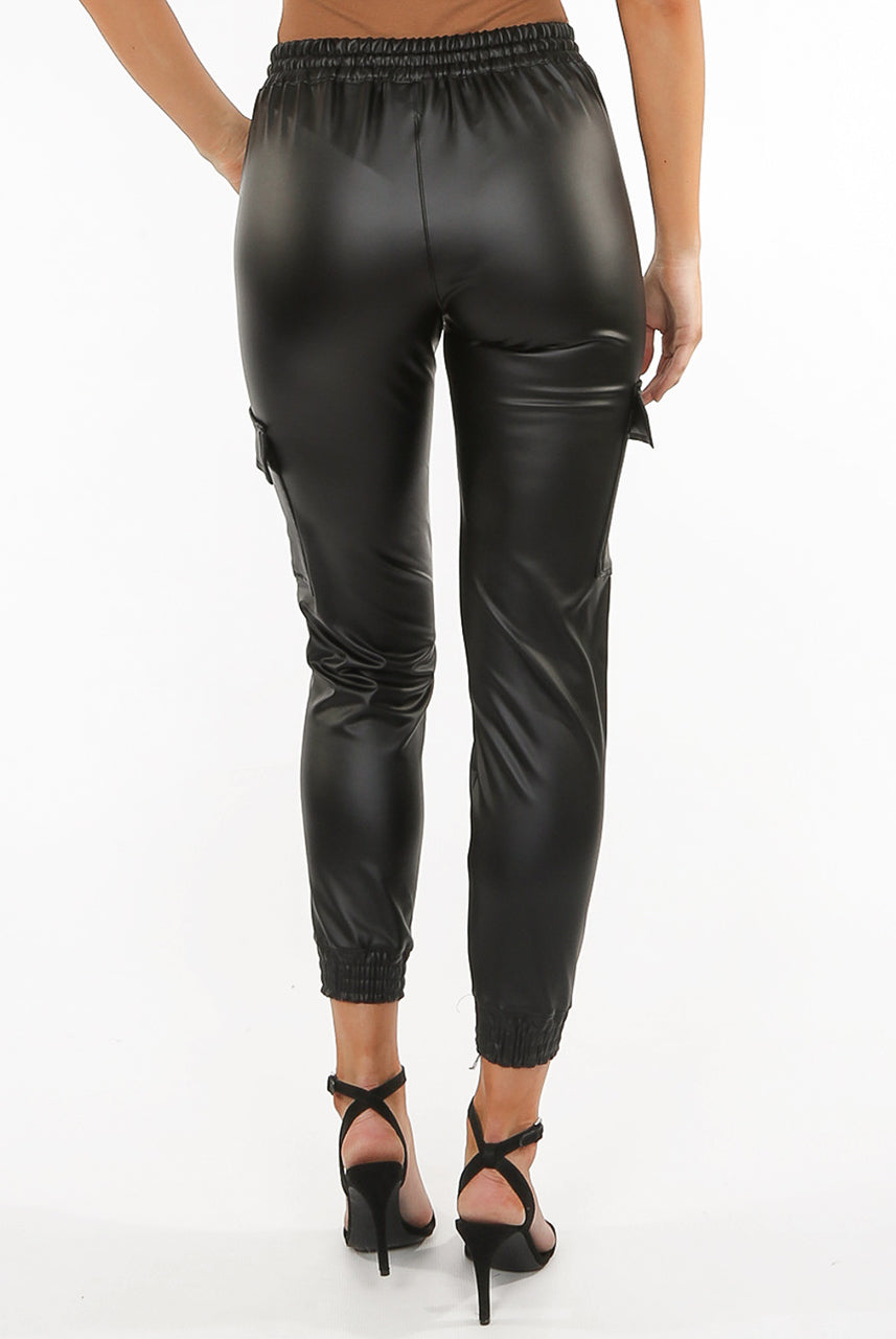 Black Leather Look Pu Cargo Pants - Gia