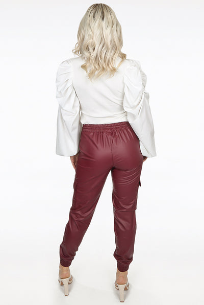 Maroon Leather Look Pu Cargo Pants - Gia