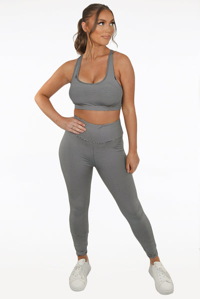 Grey Thin Stripe print Active Top & Pants Set - Magnolia